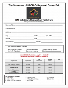 2019 Showcase exhibitors registration form
